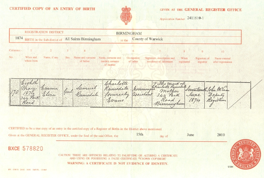 Certificate of Birth: Emma Eliza Ramsdale (b.1874)