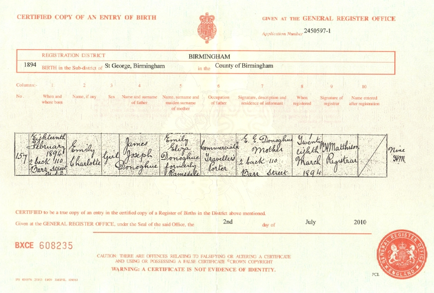 Certificate of Birth: Emily Charlotte Donoghue (b.1894)