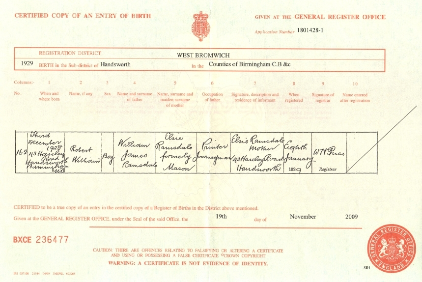 Certificate of Birth: Robert William Ramsdale (b.1929)