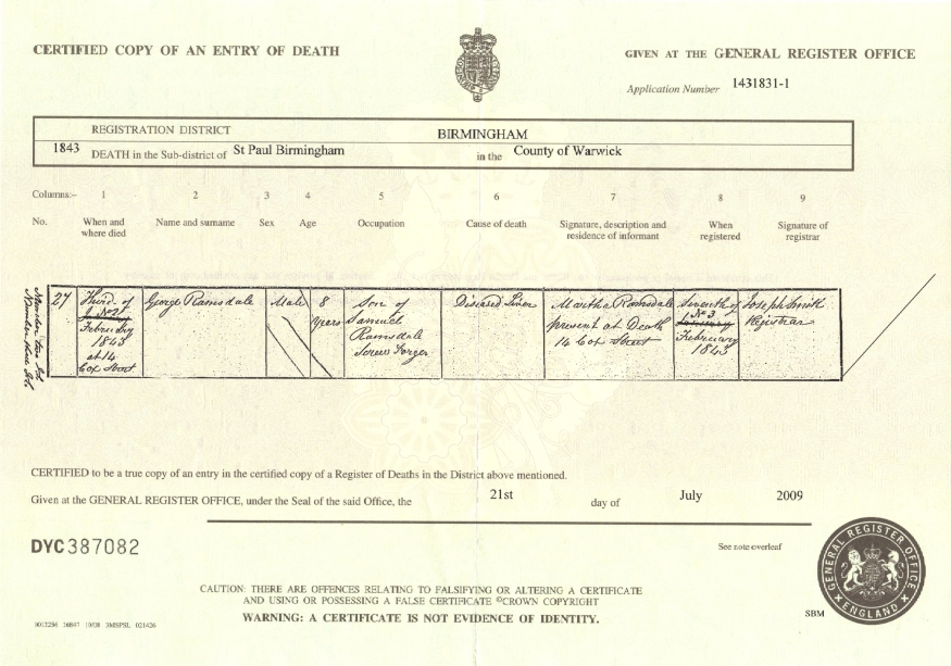 Certificate of Death: George Ramsdale (d.1843)