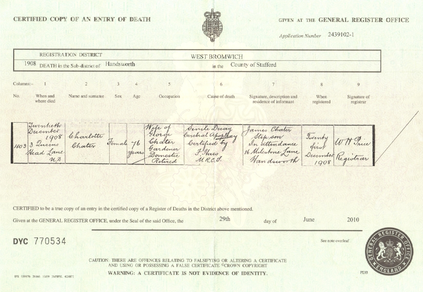 Certificate of Death: Charlotte Chater formerly Ramsdale (née Evans) (d.1908)
