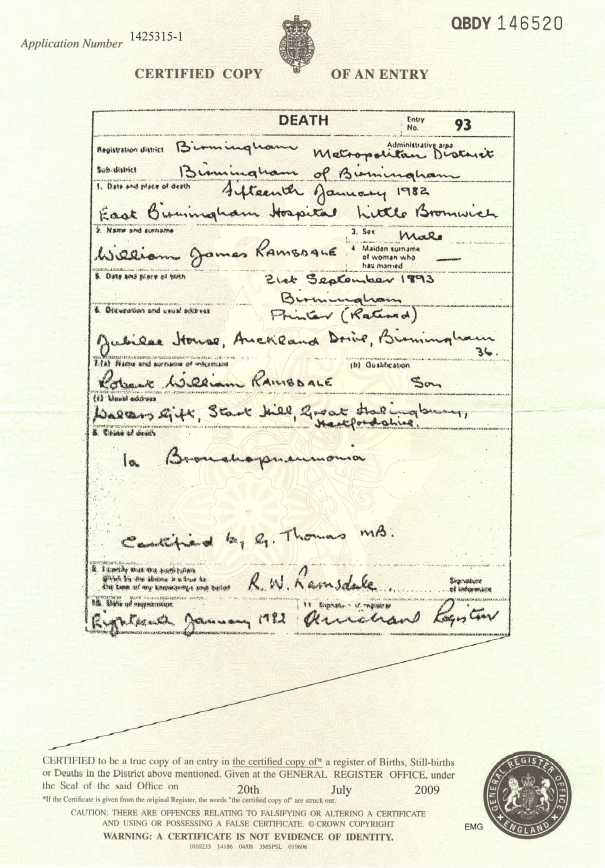 Certificate of Death: William James Ramsdale (d.1982)