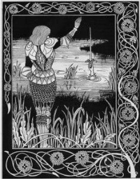 How Sir Bedivere cast the sword Excalibur into the water by Aubrey Beardsley (1894)
