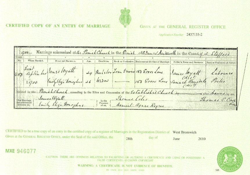 Certificate of Marriage: Emma Eliza Ramsdale and James Wyatt (1900)